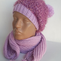 Hat and kerchief,Accessories for the ladies,Hat and scarf,Ladies winter set,Blue hat and kerchief,Moher hat and kerchief,Ladies winter set