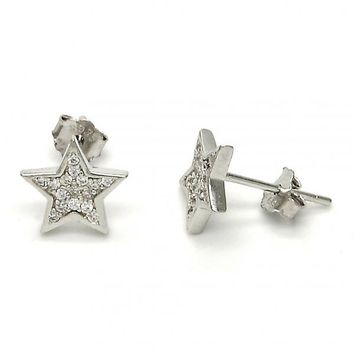 Sterling Silver 02.290.0021 Stud Earring, Star Design, with White Micro Pave, Polished Finish, Rhodium Tone