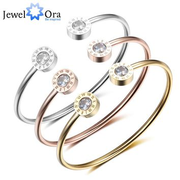 Adjustable Open Stainless Steel Bracelet Bangles 3 Color Cuff Bracelet For Women Jewelry Gift For Girls (JewelOra BA101841)