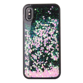 Phone Cover Pink Heart Sequin Glitter Liquid Quicksand Case Protector Rhinestone Encrusted PC Hard Shell for iPhone X