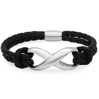 Braided Black Leather and Stainless Steel Infinity Bracelet with Magnetic Clasp ( 8 inches)