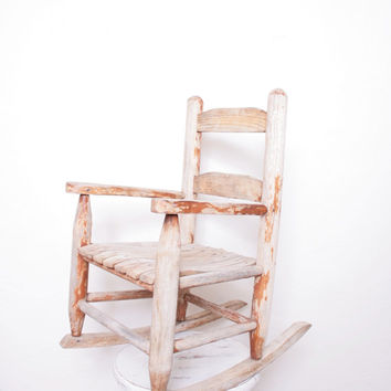 Antique Children's Wooden Rocking Chair, Perfect for a Playroom or Living Room