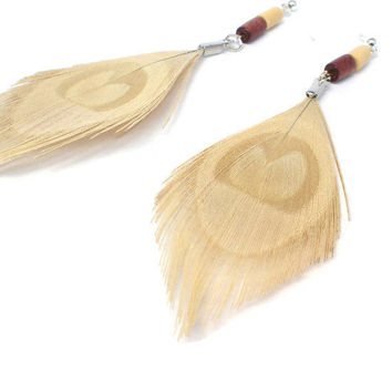 Feather Earrings Bohemian Cream Peacock Feather & Wood by donaarg