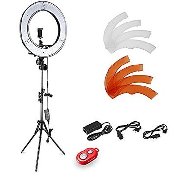 Neewer Camera Photo Video Lightning Kit: 18 inches/48 centimeters Outer 55W 5500K Dimmable LED Ring Light, Light Stand, Bluetooth Receiver for Smartphone, Youtube, Vine Self-Portrait Video Shooting