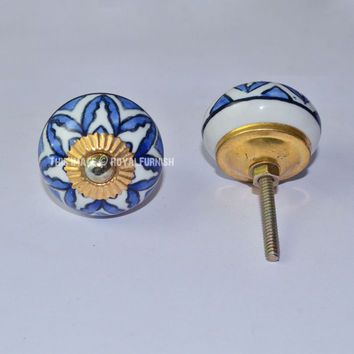 Blue Floral Ceramic Cabinet Knobs, Set of 2 on RoyalFurnish.com