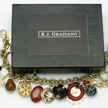 GRAZIANO Vintage Glass Crystal Charm Bracelet Original Box