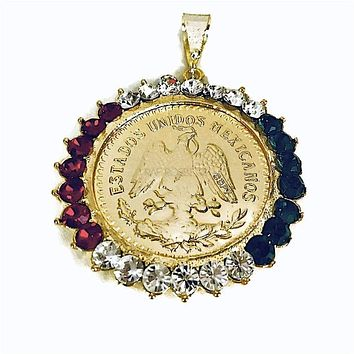 Red Green and White 18Kts Of Gold Plated Centenario Pendant Mexican Coin