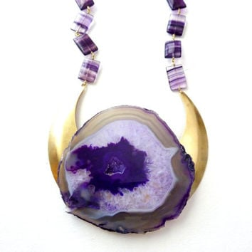 Statement Necklace. Purple Agate Stone & Fluorite Space Tribe Jewelry