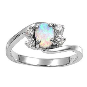 Sterling Silver Oval White Created Opal Ring (Size 5 - 10) - Size 9