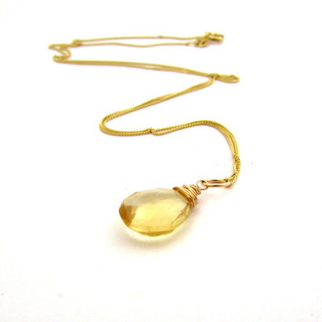 14k gold citrine necklace, November birthstone jewelry, yellow citrine gemstone, 14k gold birthstone necklace, solid gold citrine pendant