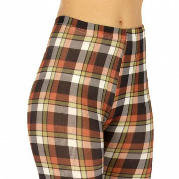 Cotton Blend Capri Leggings Checkered Olive/Brown in M/L and XL/XXL