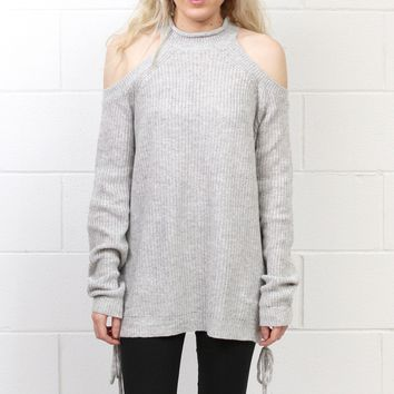 Cold Shoulder Lace Up Sides Tunic Sweater {Grey}