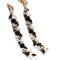 Fashion Zircon Crystal Tassel Long Earring