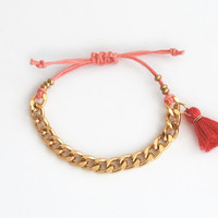 Pink bracelet with chain and tassel charm, chunky chain bracelet