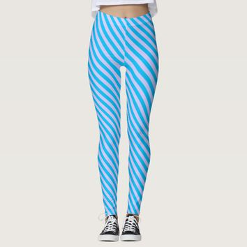 Cute blue stripes patterns leggings
