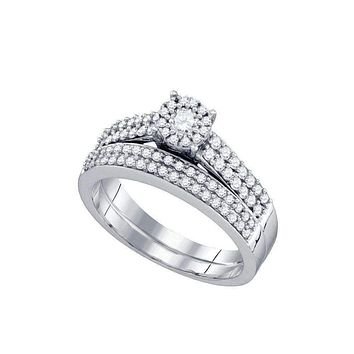 14kt White Gold Women's Round Diamond Bridal Wedding Engagement Ring Band Set 5/8 Cttw - FREE Shipping (US/CAN)