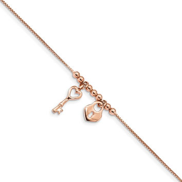 Sterling Silver Rose-tone Polished Heart Lock 9in w/1in Anklet