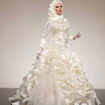 Honey Qiao Bridal Wedding Gowns Western Style Modest Long Sleeve Aline Muslim Vestido De Noiva Vintage Vintage Wedding Dress