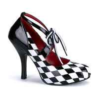 Harlequin Checker Lace-Up Detail Pump Black White
