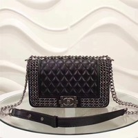 CHANEL WOMEN'S NEW STYLE LEATHER CHAIN SHOULDER BAG