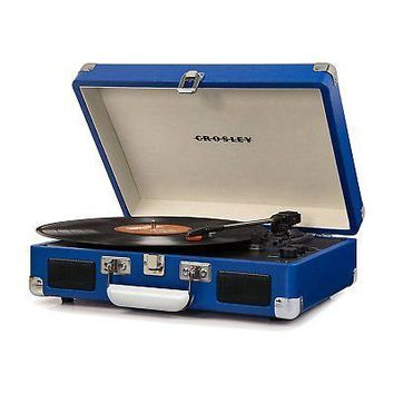Crosley Cruiser Deluxe Portable 3 Speed Bluetooth Record Player Turntable, Blue