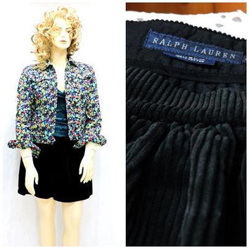 90s black cord skirt / size 10 /12 / Ralph Lauren / 1990s corduroy skater skirt / black full circle short skirt / SunnyBohoVintage