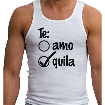 Tequila Checkmark Design Mens Ribbed Tank Top by TooLoud