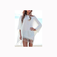 mothers day from daughter Chiffon cover up White Fringe Beach Cover Up Crochet Beach CoverUp Swimsuit dress Beach Dress Lace Cover Up