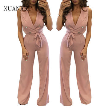 2016 autumn womens jumpsuits sexy long pant deep v neck jumpsuit fitness romper bodysuits bodycon pink elegant femme club party