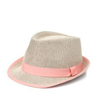 Coral Ribbon-Trimmed Straw Fedora Hat by Charlotte Russe