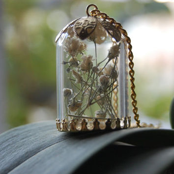 Glass Orb Mini Terrarium Necklace Real Plant Bauble Bottle Vial Woodland Fairy Floating Pendant Medieval