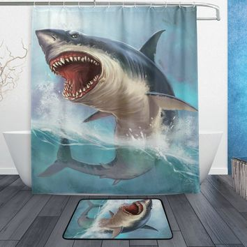 Ocean Sea Shark Bathroom Unique Cool Cloth Fabric Long Shower Curtains