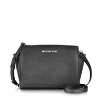 Michael Kors Designer Handbags Selma Black Saffiano Leather Medium Messenger Bag