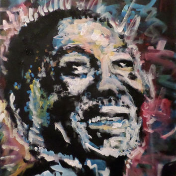 Unique Pop Art Painting 16x20, Muddy Waters, Chicago Blues Folk Art Canvas, Urban Art, Rock Art, Fathers Day, Gifts for Him