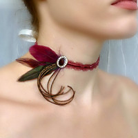 Burgundy Wine Red Renaissance Victorian Velvet Choker - Rhinestone Peacock Feather Collar - Baroque Burlesque Romantic Prom Wedding