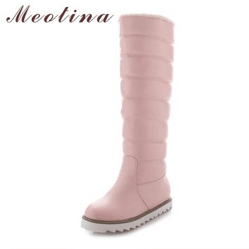 Meotina Women Snow Boots Australia Boots Winter Platform Wedge Heels Knee High Boots Pleated Pink Black White Shoes Big Size 10