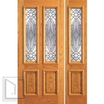 Prehung Mahogany Sidelite Door, Twin Lite Entry , Decorative Glass