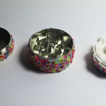 Cake Grinder with Sprinkles and a Cherry on Top, Metal Herb Grinder