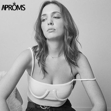 Aproms Streetwear Basic Camis Fashion 2018 Women Spaghetti Straps Knitted Ribbed Cropped Tank Top Short Elastic Bra T-shirts Tee