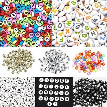 """At Random Mixed Multi colors Flat Round Alphabet /Letter """"A-Z"""" Acrylic Spacer Beads 7mm, 500 pcs"""