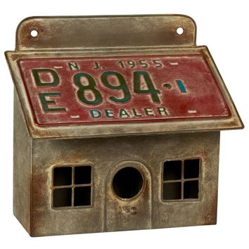 Rustic Metal Wall Mounted Birdhouse with License Plate Roof -- 10-1/4-in