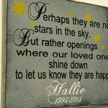 In Memory Of Sign Perhaps They Are Not Stars Custom Sign Distressed Wood Sign Shabby Chic Decor Personalized Name Sign