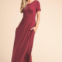 Picture Perfect Short Sleeve Maxi Dress - Wine - Pre-order Ships Tuesday 8/1