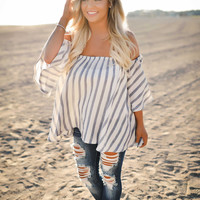 Chambray Striped Off Shoulder Top