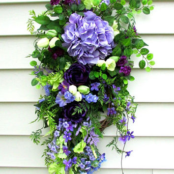 Summer Door Swag, Front Door Wreath Swag, hydrangea door swag, purple door wreath, Summer Door Wreath, Spring Door Swag, door swags Summer
