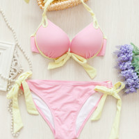 HOT CONTRAST KNOT BIKINI SWIMWEAR BATH SUIT