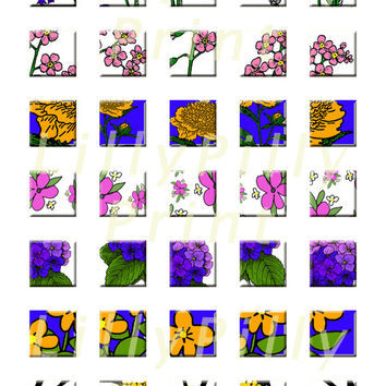 Floral Inchies, Instant Digital download, digital collage sheet, paper supplies, clipart, 1 x 1 inch squares,scrapbooking, 300 DPI JPEG A4