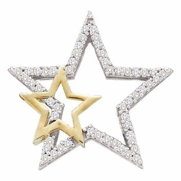 10kt White Two-tone Gold Women's Round Diamond Yellow Star Pendant 1-6 Cttw - FREE Shipping (US/CAN)