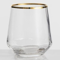 Gold Rim Optic Glass Stemless Wine Glasses Set of 4