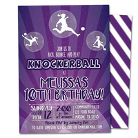Girl Bubble Ball Invitations -  Knockerball Invitation - Purple Bubble Ball Soccer Invitation - Knockerball Invite - Bubble Ball Party